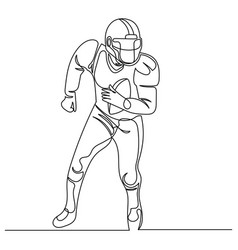 continuous line drawing american football player vector image vector image