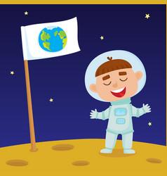 cute little happy boy astronaut standing on moon vector image