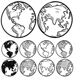 doodle globe earth vector image