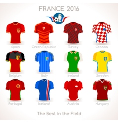 France EURO 2016 Jersey Icons vector image