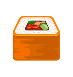 seafood sushi roll with salmon traditional vector image vector image