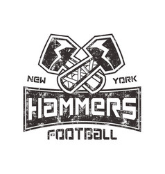 american football logo hammers new york sign vector image vector image