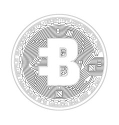 crypto currency bytecoin black and white symbol vector image