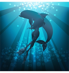 Girl and dolphin vector image vector image