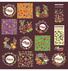 Large organic food collection vector