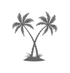 silhouette of palm trees on the island vector image