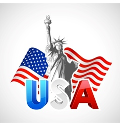 Statue of Liberty with American Flag vector image vector image