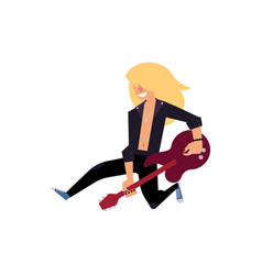 young rock musician with long hair playing on vector image