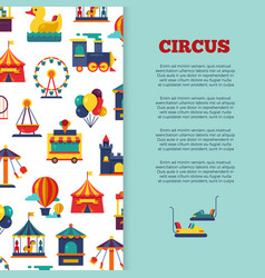 amusement park circus banner design with icons vector image
