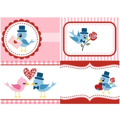 bird and rose flower set for valentine vector image