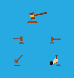 Flat icon court set of hammer tribunal legal and vector