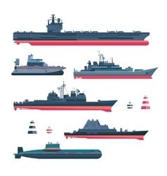 Militaristic ships icons vector