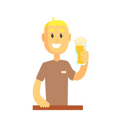 smiling bartender man character standing at the vector image vector image