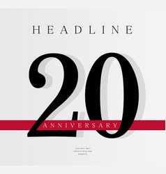 20th anniversary banner template journal cover vector