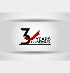 3 years anniversary design with red ribbon vector