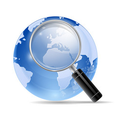 3d magnifying glass search icon vector