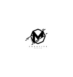 Abstract letter m monogram shape polygon logo vector