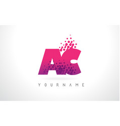 Ac a c letter logo with pink purple color vector