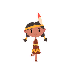 american indian girl in national clothes kid vector image