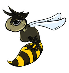 Angry wasp on white background vector
