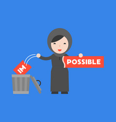 Arab woman change the impossible sign to possible vector