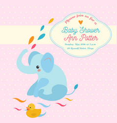 Baby shower invitation card with elephant and vector