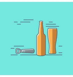 Beer glass bottle flat design background vector