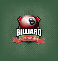 billiard logo template design vector image