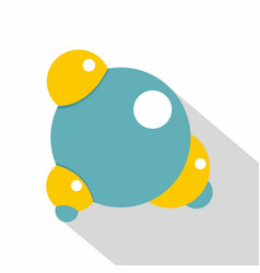 Blue molecule icon flat style vector