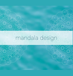 Blue water tribal background with white mandalas vector