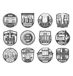 brewing industry beer house bar and pub icons vector image
