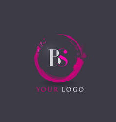 Bs letter logo circular purple splash brush vector