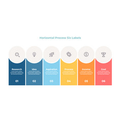 Business infographics process with 6 steps vector