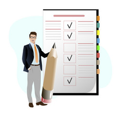 Business man with pencil check to do list vector