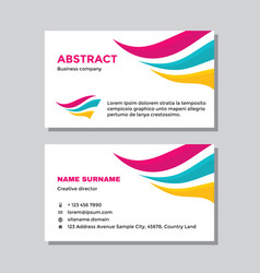 business visit card template with logo - concept d vector image