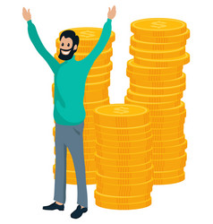 Businessman and coin earning money dollar vector