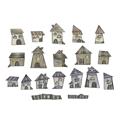 Cartoon fairy tale drawing houses vector