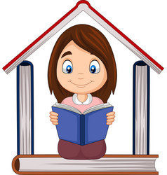 cartoon girl reading a book with pile books for vector image