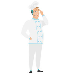 caucasian chef cook in headset with microphone vector image