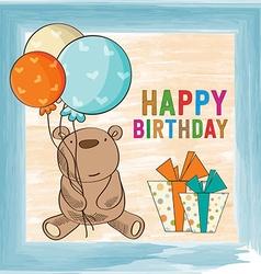 Childish birthday card with teddy bear vector