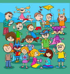 children and teens cartoon characters group vector image
