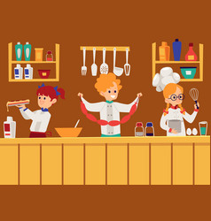 children boys and girls cooking in kitchen in vector image