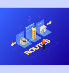 Choose your route - modern colorful isometric vector