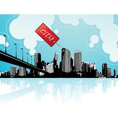 City scape with sky and clouds at background vector