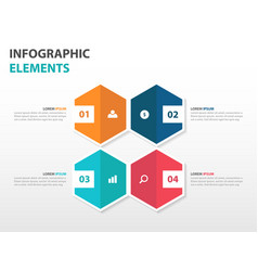 Colorful 4 hexagon business infographics elements vector