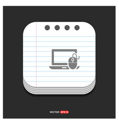 computer icon gray icon on notepad style template vector image