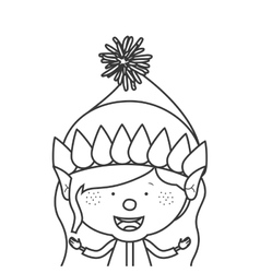 contour with half body gnome girl vector image