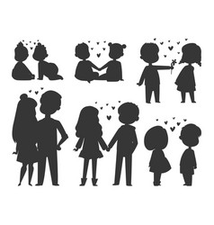 couple in love characters silhouette vector image