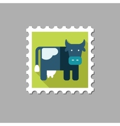 Cow flat stamp with long shadow vector