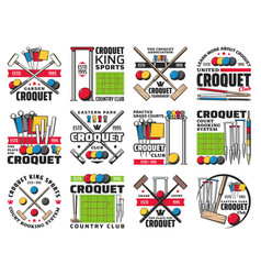 croquet club court booking and tournament icons vector image